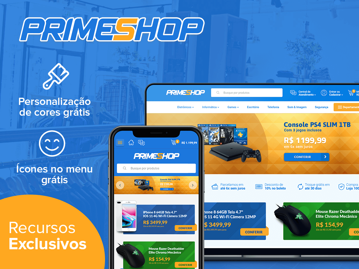 1c14953c98 Tema PrimeShop Blue. Loja Integrada